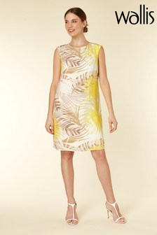 Wallis Yellow Palm Print Shift Dress