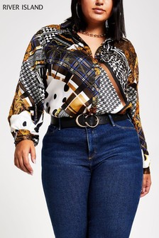 River Island Black Chain Print Sandy Glam Utility Shirt