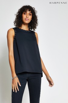Harpenne Black Stud Detail Shell Top