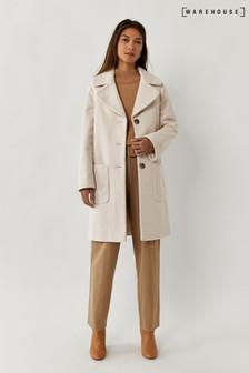 Warehouse Cream Long Faux Fur Teddy Coat