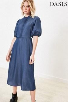 Oasis Blue Lace Pintuck Denim Dress