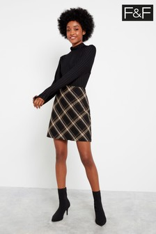 F&F Black Zip Mini Skirt