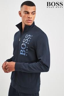BOSS Blue Tracksuit Shiny Logo Zip Sweat