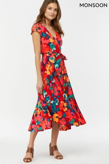 Monsoon Ladies Red Moana Print Midi Dress