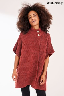 White Stuff Red Maple Cable Poncho