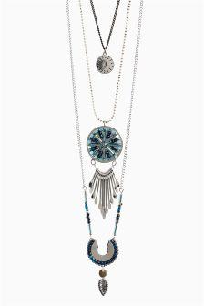 Beaded Multi Layer Pendant Necklace