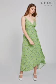 Ghost London Green Bibi Lynn Floral Crepe Wrap Dress