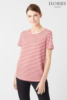 Hobbs Red Stripe Button T-Shirt
