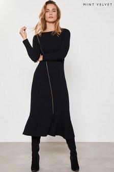 Mint Velvet Black Zip Through Jersey Midi Dress