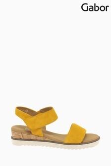 Gabor Yellow Raynor Mango Suede Sandals