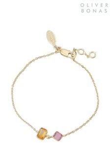 Oliver Bonas Pink Kayin Stone Inlay Chain Bracelet