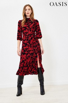 Oasis Natural Statement Floral Midi Dress