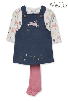 M&Co Kids Blue Bunny Pinafore And Tights Set