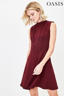 Oasis Red Lace Trim Dress