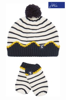 Joules White Crown Hat And Mitten Set