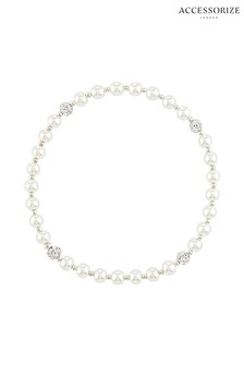 Accessorize Cream Sterling Silver Pearl Stretch Bracelet