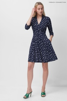 French Connection Blue Fayola Meadow Jersey V-Neck Dress