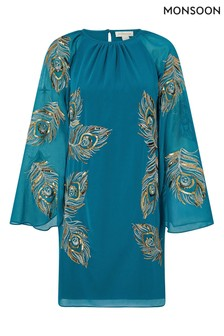 Monsoon Teal Cara Peacock Embroidered Cape Dress