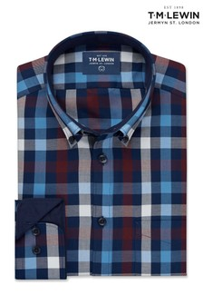 T.M. Lewin Navy/Burgundy Gingham Slim Fit Single Shirt