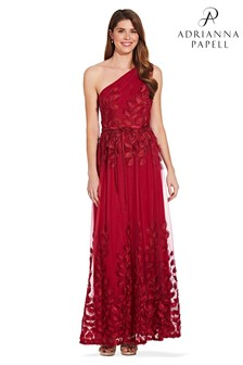 Adrianna Papell Red Shirred One Shoulder Ball Gown