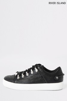 River Island Black Tycoon Mongram Lace Up Shoes