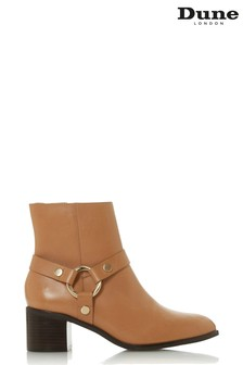 Dune London Camel Leather Pipkin Harness Ankle Boots