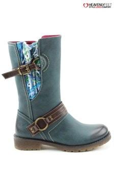 Heavenly Feet Blue Ella Ocean Mid Calf Boots