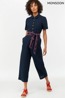 Monsoon Ladies Blue Jimmy Linen Jumpsuit