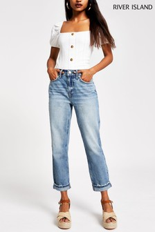 River Island Petite Blue Light Mom Trent Jeans