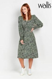 Wallis Green Ditsy V-Neck Midi Dress