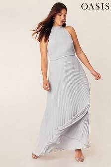 Oasis Grey Megan Pleat Maxi Dress
