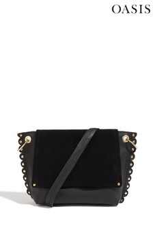 Oasis Black Leather Scallop Cross Body Bag