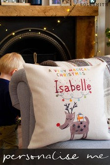 Personalised Children's Reindeer Cushion by Solesmith