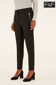 F&F Black Check Ponte Zip Skinny Trousers