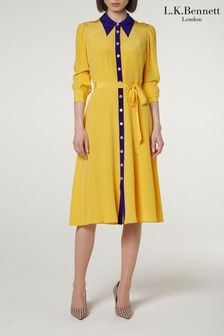 L.K.Bennett Yellow Debra Silk Shirt Dress