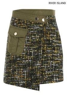 River Island Green Bouclé Utility Skirt