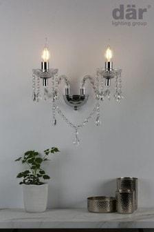 Dar Lighting Silver Katie 2 Light Wall Light