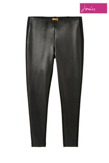 Joules Black Harriet Pleather/Jersey Mix Trousers