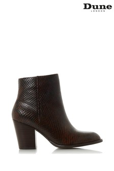 Dune London Dark Brown Leather Portray Cuban Heel Ankle Boots