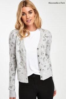 Abercrombie & Fitch Grey Leopard Cardigan