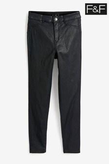 F&F Black Push Up Coated Glitter Jeans