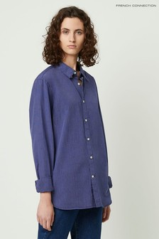 French Connection Blue Lilla Dotted Stripe Pocket Shirt