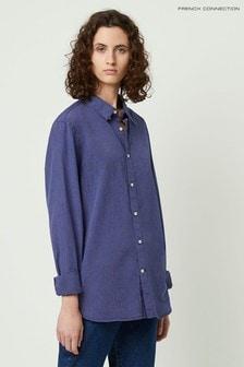 Синяя рубашка в полоску и горошек с карманами French Connection Lilla