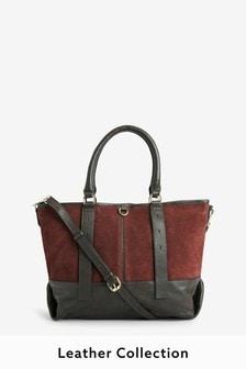 Кожаная сумка с замшевыми вставками