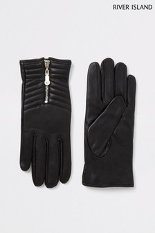River Island Boxed Black Zip Quilted Leather Gloves