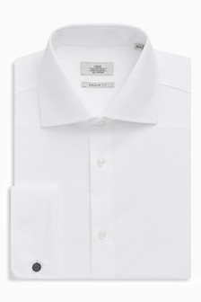 Cotton Shallow Cutaway Collar Shirt