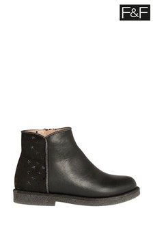 F&F Black Star Ankle Boots