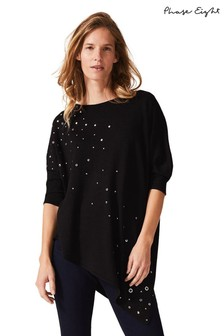 Phase Eight Black Seema Scattered Stud Knit Jumper