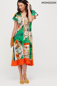Monsoon Green Paloma Print Midi Dress