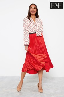 F&F Red Satin Pleated Skirt